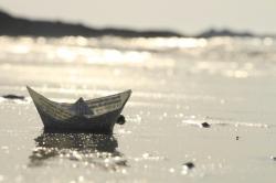 Echoué, seul sur la plage